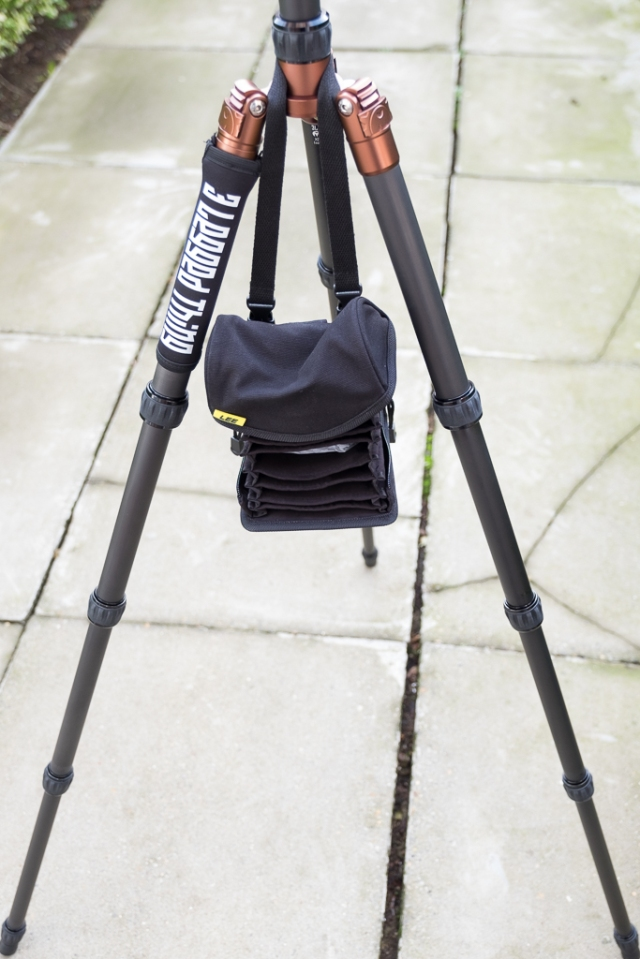 Lee Filters Field Pouch hanging off a tripod ready to be used.