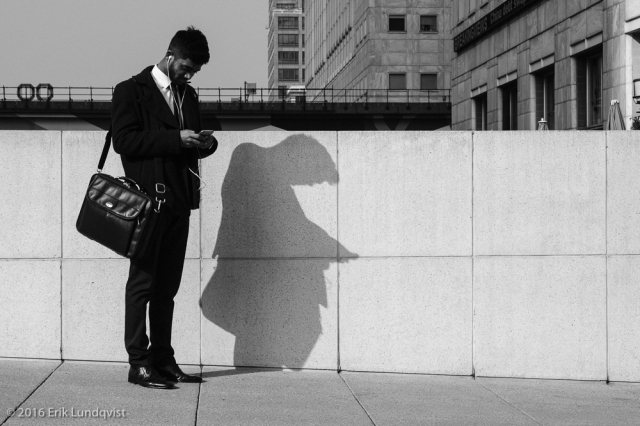 A suit and his shadow.