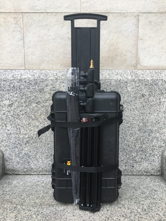 I was able to strap my lightstand and umbrella to the outside of the Peli 1510.